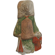 Asian Mother & Son Hand Painted Wooden Rattle