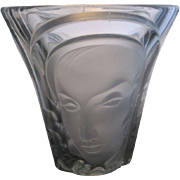 Molded Art Deco Glass Three Faces Vase by Walther & Sohne Germany c1934
