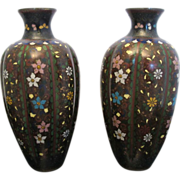 Japanese set of 2 Meiji Era Cloisonne Floral Painted Vase