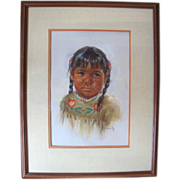 Original Pastel on Paper Portrait of Native American Girl in Braids by Arlene Hooker Fay (1937-2001)