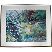 Original Framed Impressionist Rhododendron Gardens Painting by Sidonie Caron