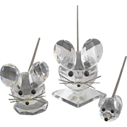 Swarovski Set of 3 Crystal Mouse Figurines Paperweights with Bobble Tails