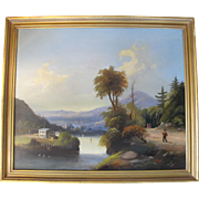 Antique c1790-1810 Finely Detailed DUTCH Landscape Oil Painting on Canvas