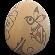 Native Jemez Pueblo Clay Pot Sculpture with Bee & Flower Design by Mary Tsosie