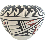 Native American Santa Clara Black & White Pottery Vase Signed Tafoya Jemez