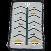 Tree of Life Bird Pattern Hand Woven Wool Native American Navajo Rug