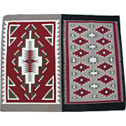"Two in One Pattern Vintage Red Mesa and Ganado Navajo Hand Spun Wool Rug 44"" x 34"""