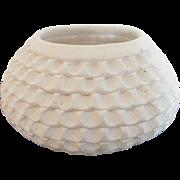 Acoma Pueblo White Native American Clay Corrugated Pot Signed Stella Shutiva