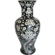 """Chinese QING Dynasty Antique Famille Noire Prunus Porcelain Flower Vase 17"""" Tall"""