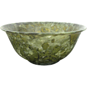 Stunning Antique Green Jade Bowl