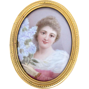 Antique Miniature Painted Porcelain Portrait or Brooch of Female Holding Flowers