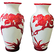 QING DYNASTY Chinese Red & White Carved Butterfly Blossom PEKING Glass Vase Pair
