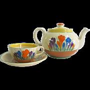 Clarice Cliff Bizarre Vintage Crocus Hand Painted Teapot Tea Cup & Saucer Set