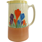 Brightly Hand Painted CROCUS Flower Clarice Cliff BIZARRE Coffee Tea Pot Pitcher