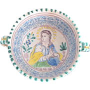 Antique Mother Mary Madonna Spiritual Religious Majolica Pottery Bowl w/Handles