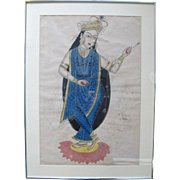 19th Century India Bengal KALIGHAT Goddess Framed Watercolor Painting