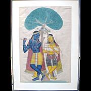 19th Century Kalighat Framed Watercolor Painting KRISHNA & BALARAM c1870-1900