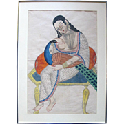 19th Century 1800's Kalighat Framed Watercolor Painting Hindu Goddess w/Peacock