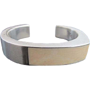Vintage Sterling Silver & Bone Modernist Geometric Chunky Cuff Bracelet