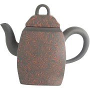 Chinese Yixing Clay Teapot w/Finely Painted Orange Vibrations Design