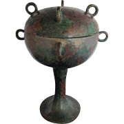 Ancient Chinese Warring States 475-221 BC Bronze Dui Covered Bowl Vessel