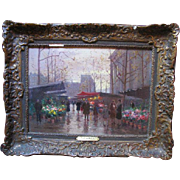 EDOUARD CORTES 1887-1969 Fine Original Oil on Canvas French Marche Aux Fleurs