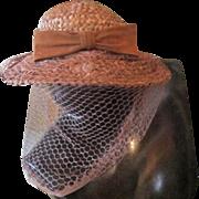 Vintage 40's Woven Straw John Frederics NY Garden Sun Hat w/Bow & Long Veil