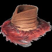 Vintage 30's Marie Louise PARIS Miniature Mocha Hat w/Vermillion Feathers