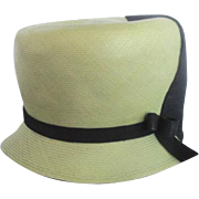 Vintage 20's 2 Tone Lime Green & Black Cloche Bucket Flapper Hat