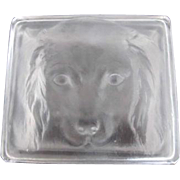 LALIQUE France Clear & Frosted Etched Dog Cocker Spaniel Glass Jar Box w/Lid