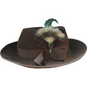 Vintage 40's Dunlap Brown Felt Wool Women's Fedora Hat w/Feather & Hat Box