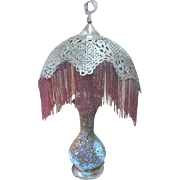 Vintage 30's Pierced Brass Turkish Moroccan Beaded Fringe Table Lamp
