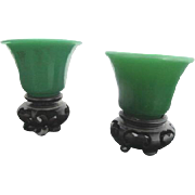 Lovely 2pc Jade Green 19th Century Peking Glass Candle Holders & Wood Stands