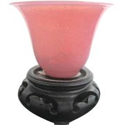 Antique Chinese Early 19th Century PINK Peking Glass Candle Holder w/Wood Stand