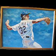 Original BASEBALL Enthusiast Oil Painting of SANDY KOUFAX by B Rieger Mittelmann