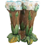 Majolica Antique 19th Century Tree Wood Theme Flower Vase Trio