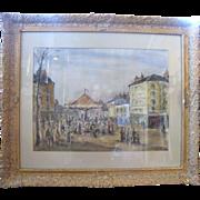 Original Arturo Souto Original Street Carnival Merry-Go-Round Oil Painting