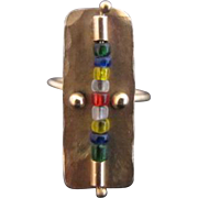 Vintage MODERNIST Hand-wrought 14k Gold SHIELD Ring w/Multi-Color Beads SIGNED