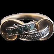 ART DECO Diamond & Green EMERALD 14k Yellow Gold Anniversary Knot Ring