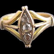 Simple But Sweet Victorian 14k Gold Old Cut Diamond Geometric Shield Ring