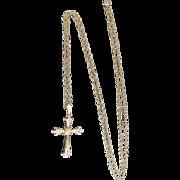 "DIAMOND & 14k Yellow Gold CROSS Crucifix Pendant w/Long 30"" Chain Necklace"