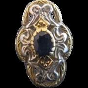 Victorian Art Nouveau 18k 2 Tone Gold Diamond Blue Sapphire Filigree Shield Ring