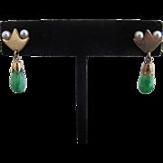 Vintage Space Age Mod MODERNIST Green JADEITE Pearl & 14k Gold Drop Earrings