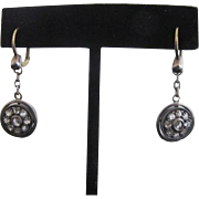 Victorian 14k Gold & Sterling Rose Cut Diamond Cluster Lever Back Drop Earrings