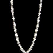 "Classic Graduated Cultured Pearl 18"" Necklace w/Art Deco Diamond 14k Clasp"