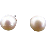 Classic Simple Cultured 8.5 mm PEARL 14k Gold Small Post Earrings