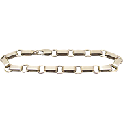 "Alternating Rectangle & Circles 14k Yellow GOLD 8"" CHAIN Link Bracelet 17.2 gr"