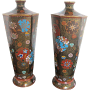 Pair of Finely Detailed Cloisonne Antique Japanese Enamel Blossom Hexagon Vases