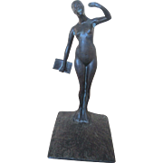 Signed Robert Garrett Thew Art Deco Nude Bronze Female Sculpture w/Book c1929