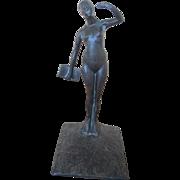 Signed Robert Garrett Thew Art Deco Nude Bronze Female Sculpture w/Book c1929